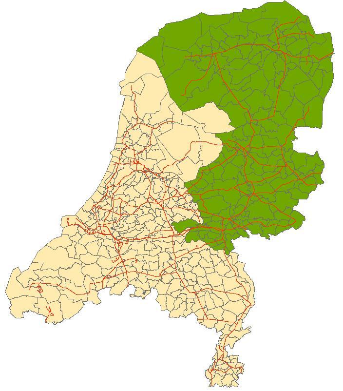 Provincies Friesland, Groningen, Drenthe, Overijssel en Gelderland